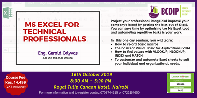 MS Excel for Technical Professionals Course Tickets, Wed