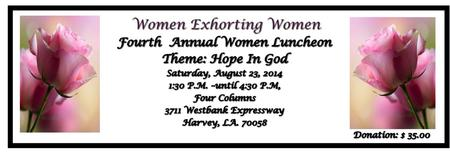 Women Exhorting Women 4th Annual Luncheon