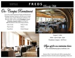 On-Campus Recruitment:  Fred's Restaurant at Barney's...
