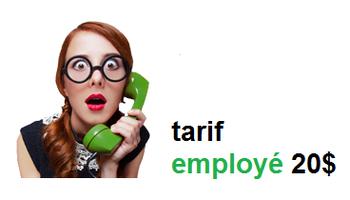 tarif employé - 20$ tout inclus - Adib Alkhalidey