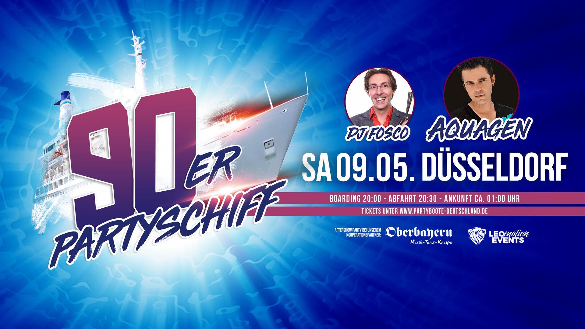 90er Partyschiff mit AQUAGEN live DJ Set - Düsseldorf