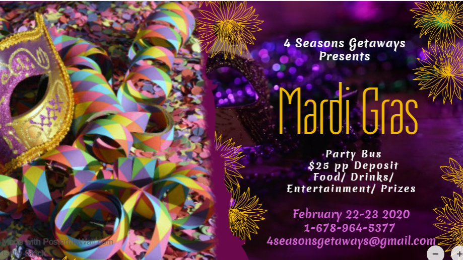 3rd Annual 2020 Mardi Gras Party Bus From ATL to New Orleans With Alcohol...