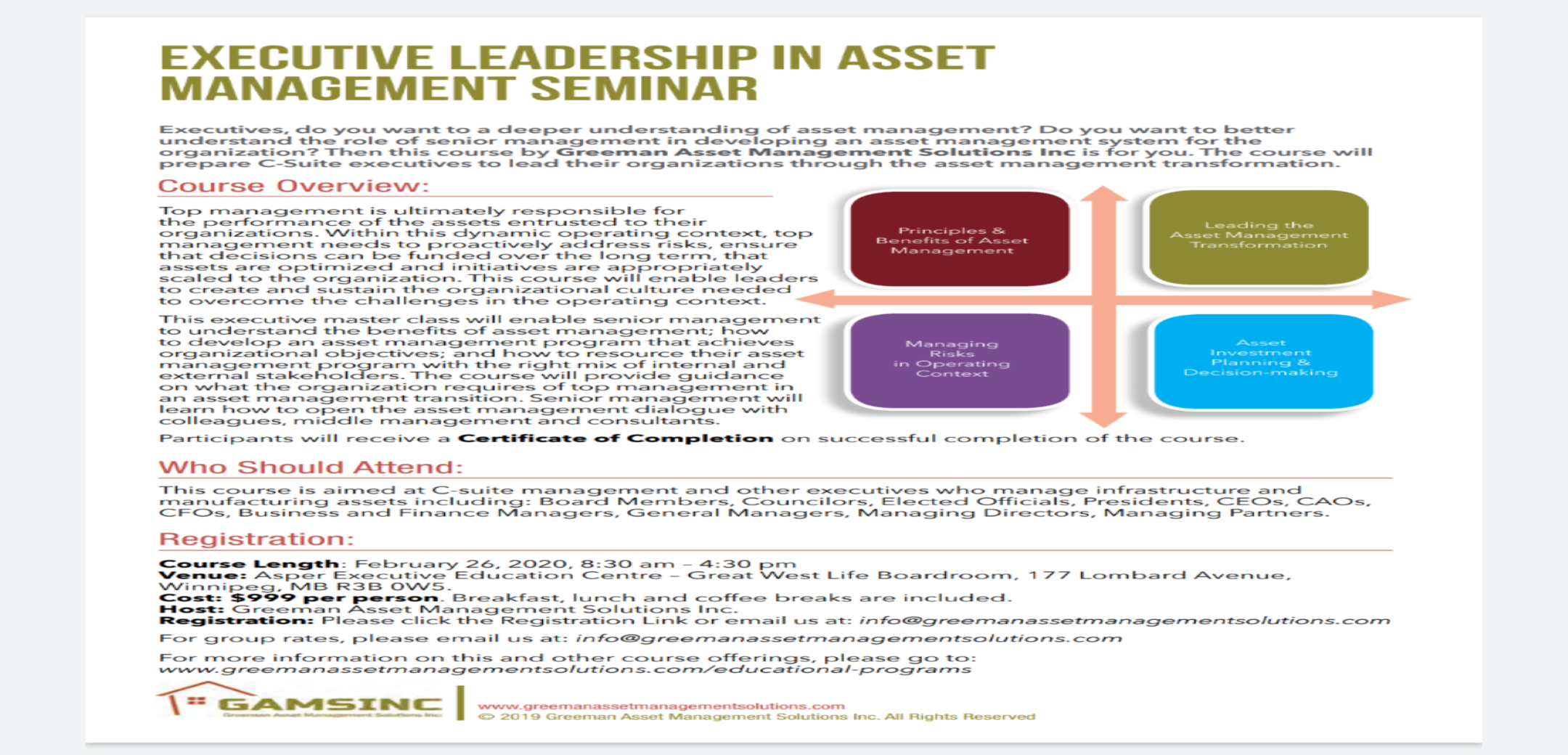 Executive Leadership in Asset Management Seminar