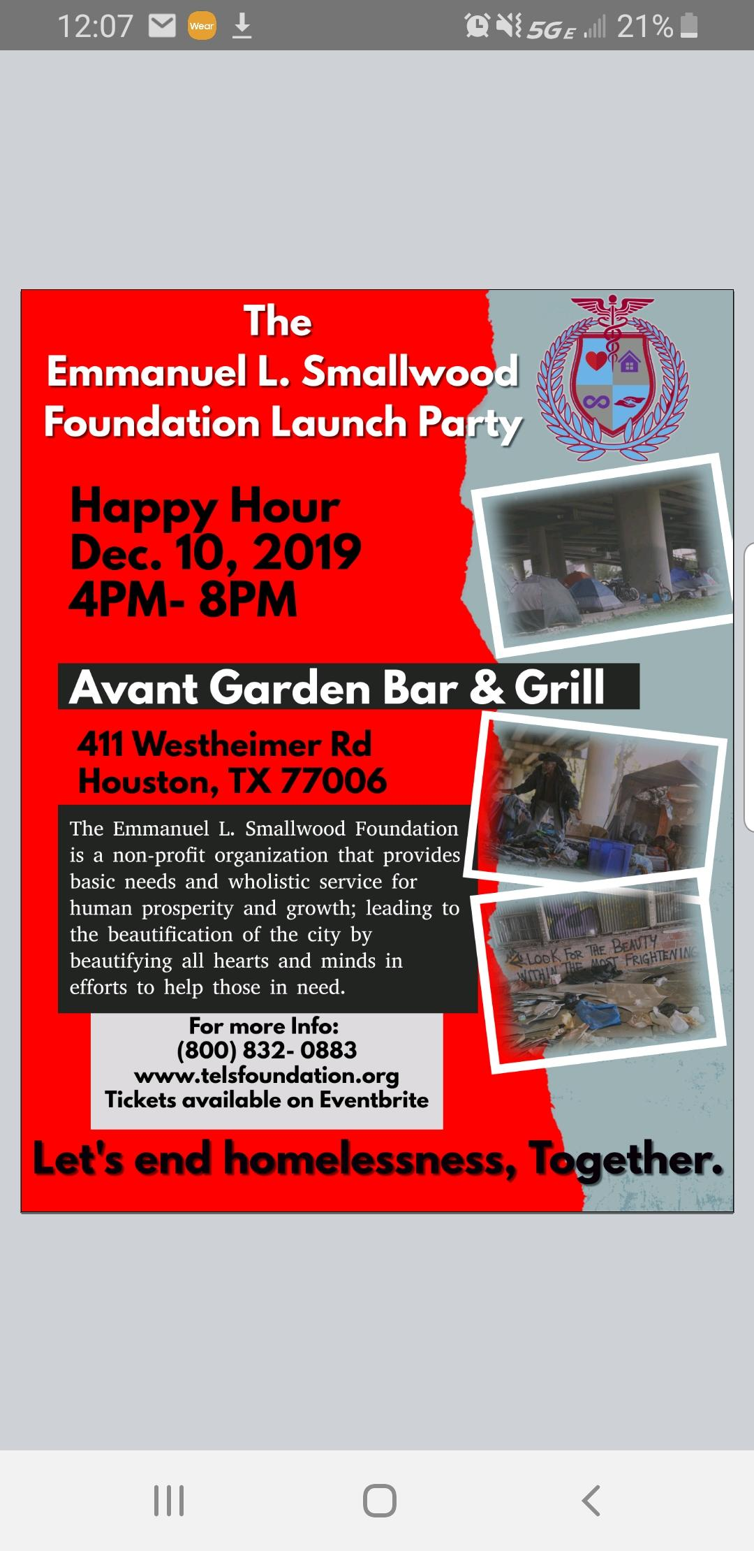 The Emmanuel L Smallwood Foundation Launch Party