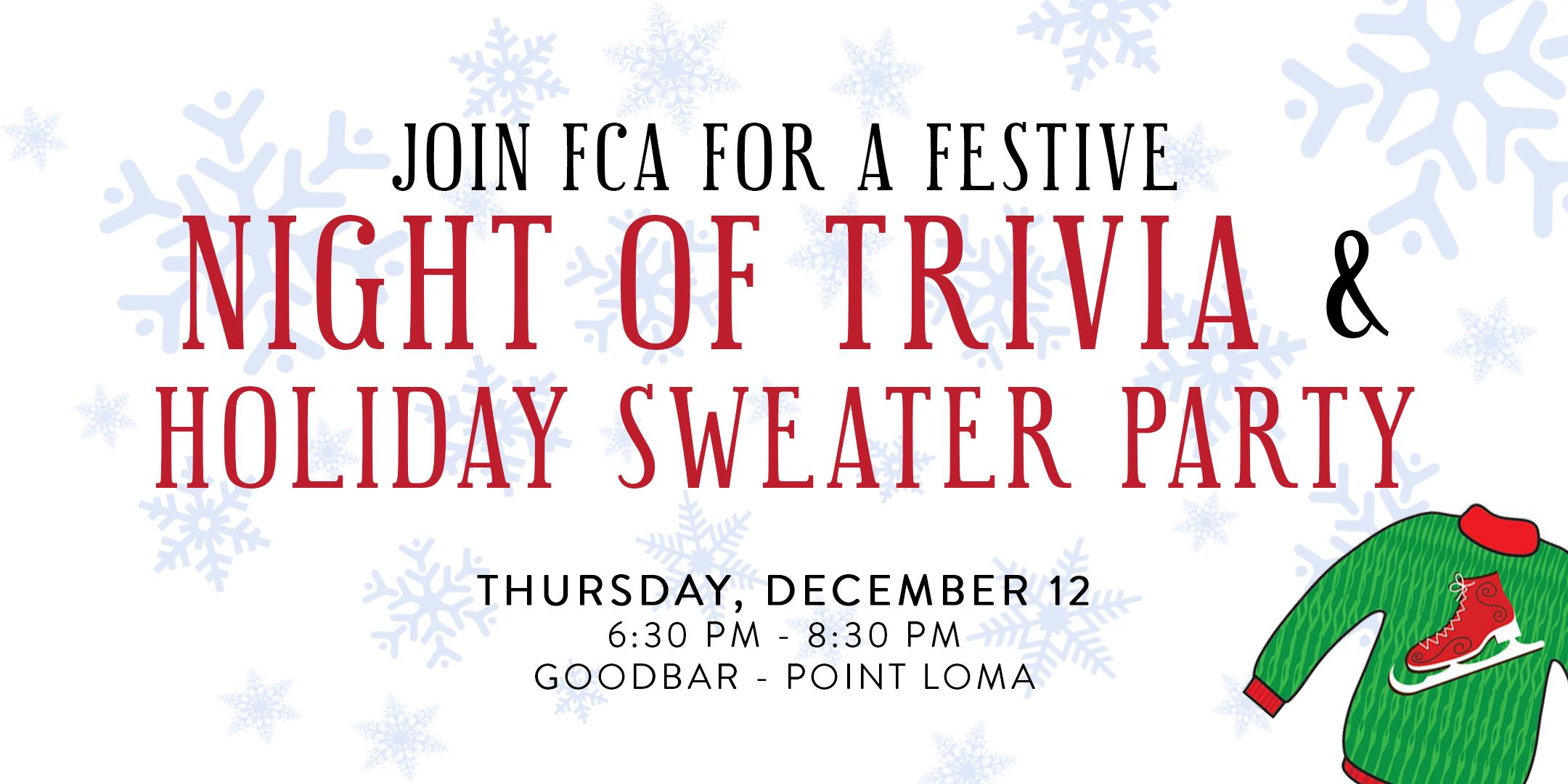 FCA Trivia Night + Holiday Sweater Party