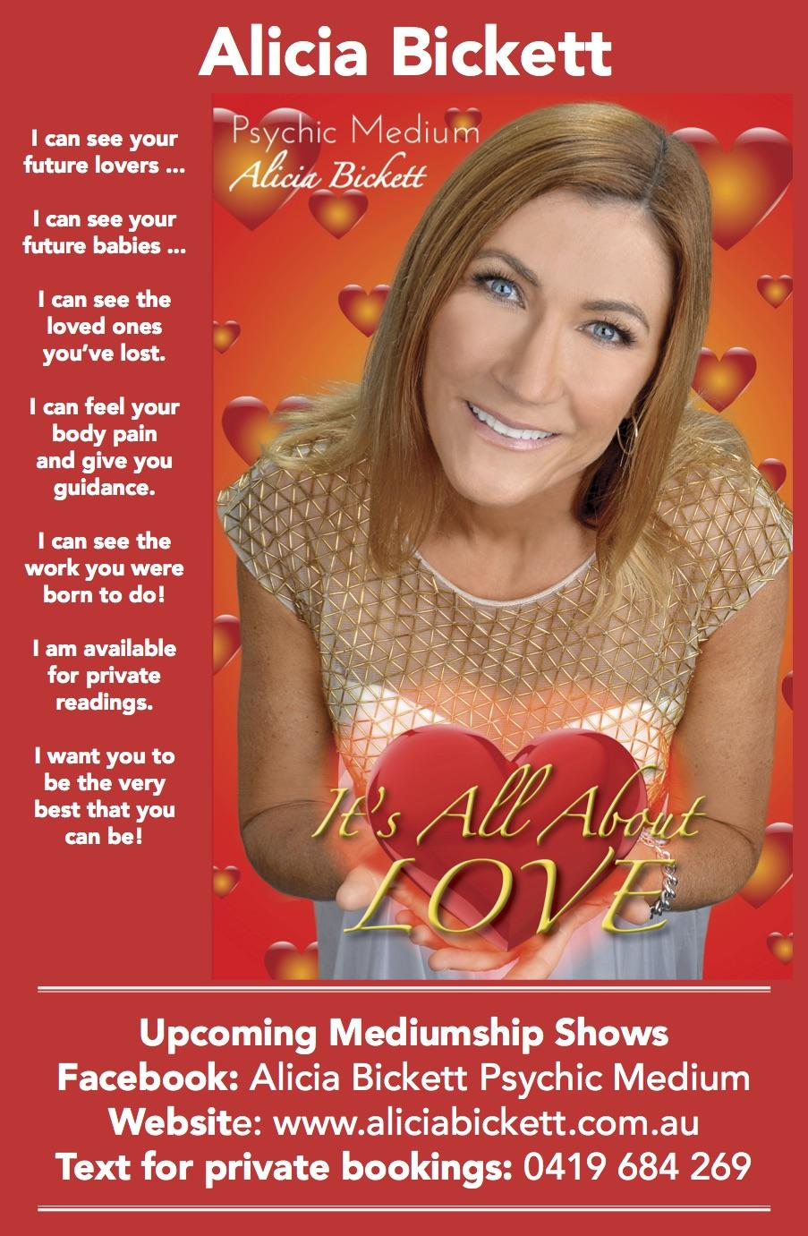Let's talk with your loved ones in Spirit! Alicia Bickett Psychic Medium Event - Cootamundra Show - Cootamundra Ex-Servicemens Club.