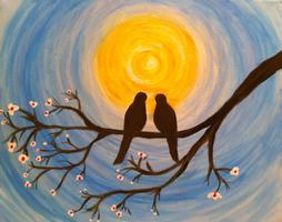 Two Hour Painting Class + Wine (Love Birds)