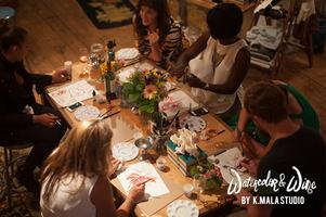 K.Mala Studio Watercolor and Wine Workshop