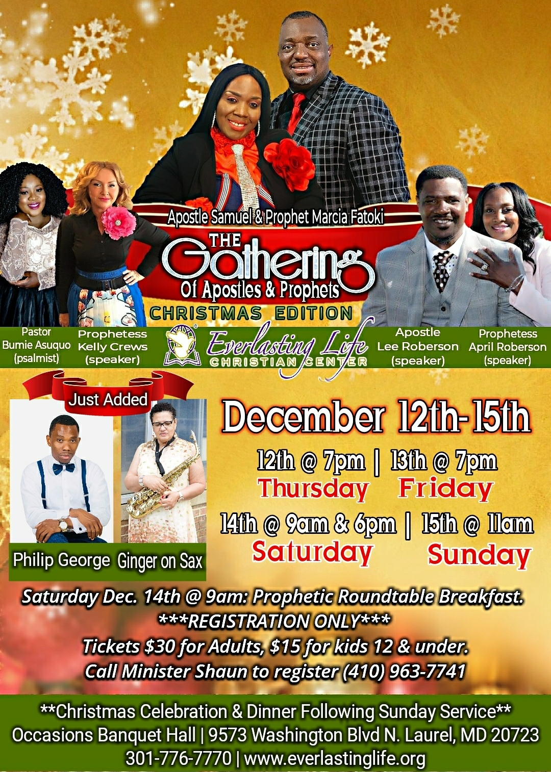 The Gathering of Apostles And Prophets!!! Tickets, Thu, Dec