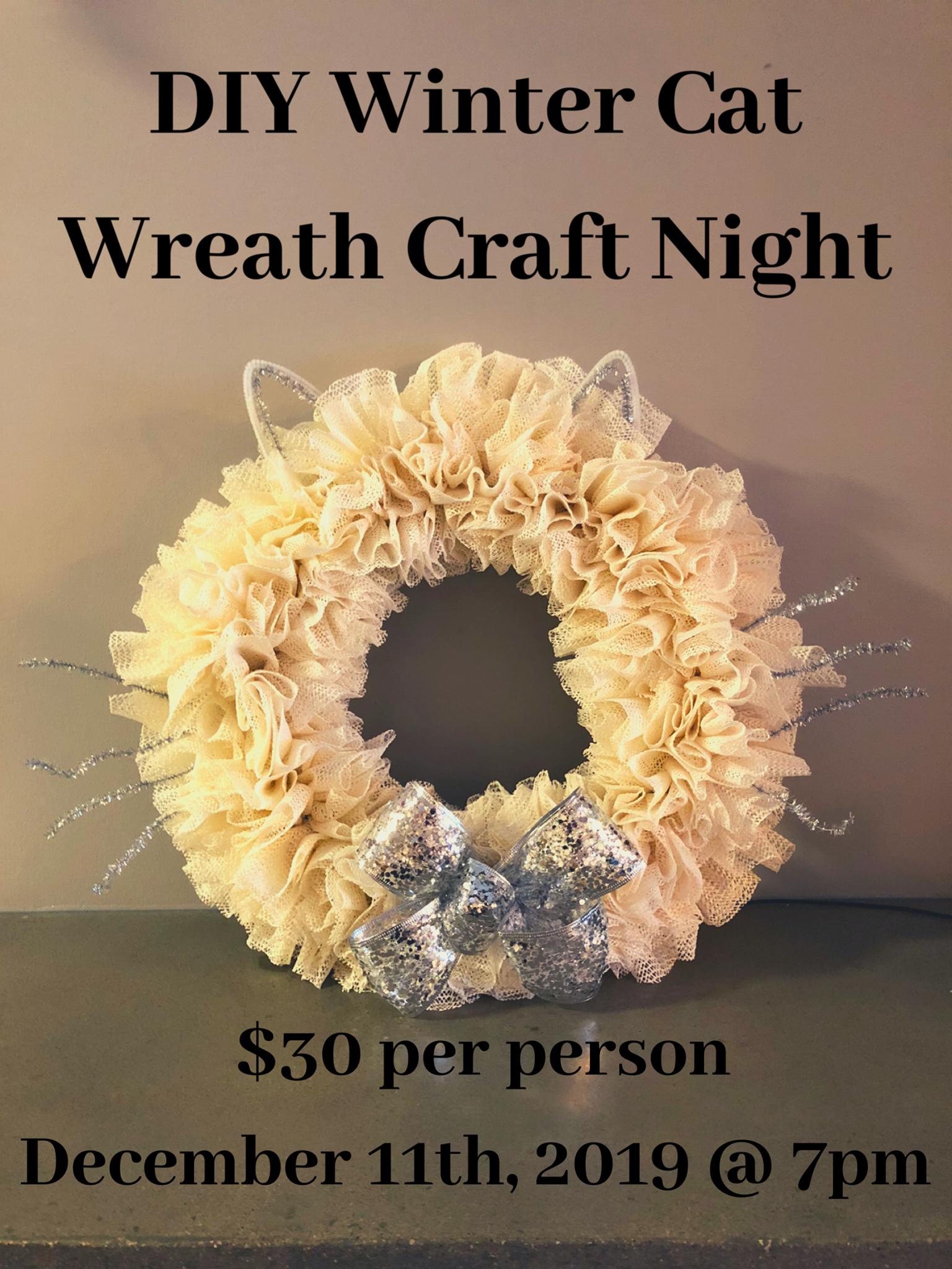 DIY Winter Cat Wreath Craft Night