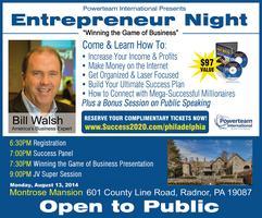 Entrepreneur Night at Villanova Conference Center