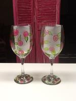 Enamel Wine Glass Painting- Rosebuds
