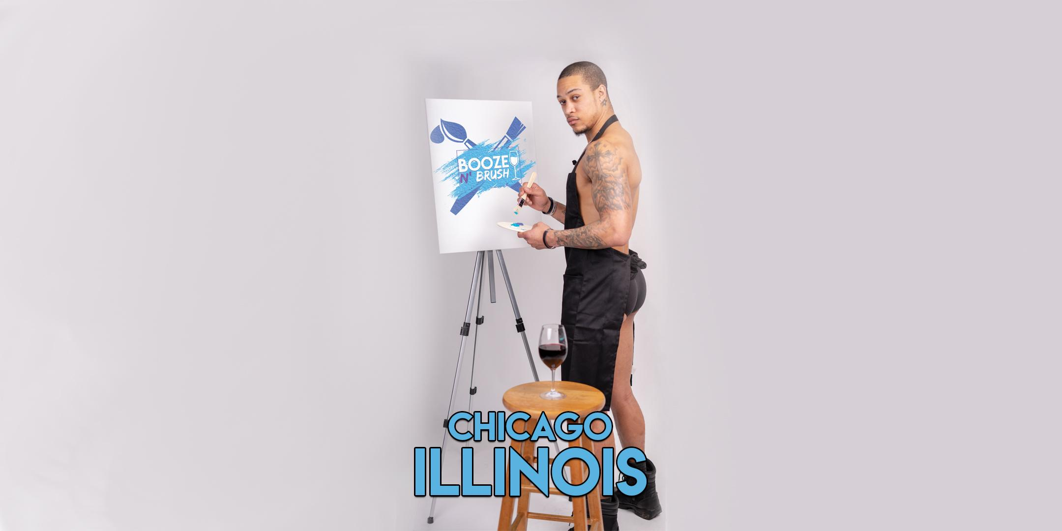 Booze N' Brush Next to Naked Sip n' Paint Chicago, IL - Exotic Male Model Painting Event