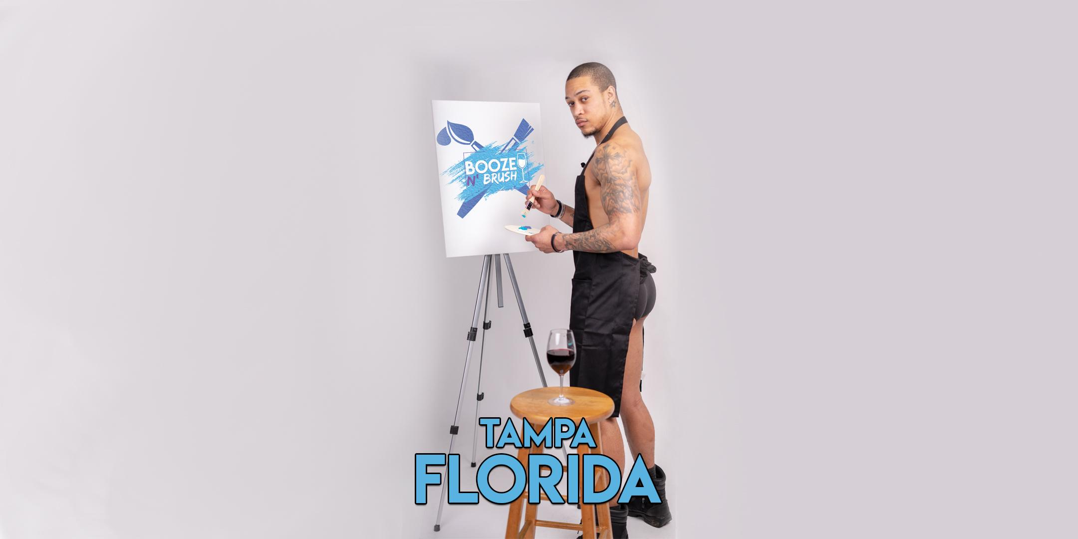 Booze N' Brush Next to Naked Sip n' Paint Tampa, FL - Exotic Male Model Painting Event