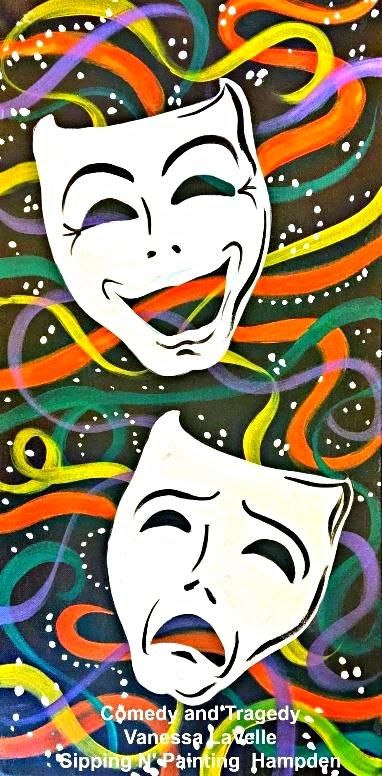 Paint Wine Denver Comedy and Tragedy Tues Feb 25th 6:30pm $30