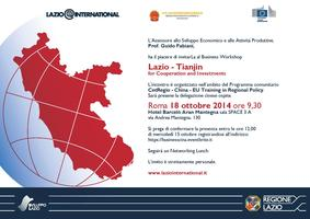 "Workshop ""Lazio – Tianjin for Cooperation and..."