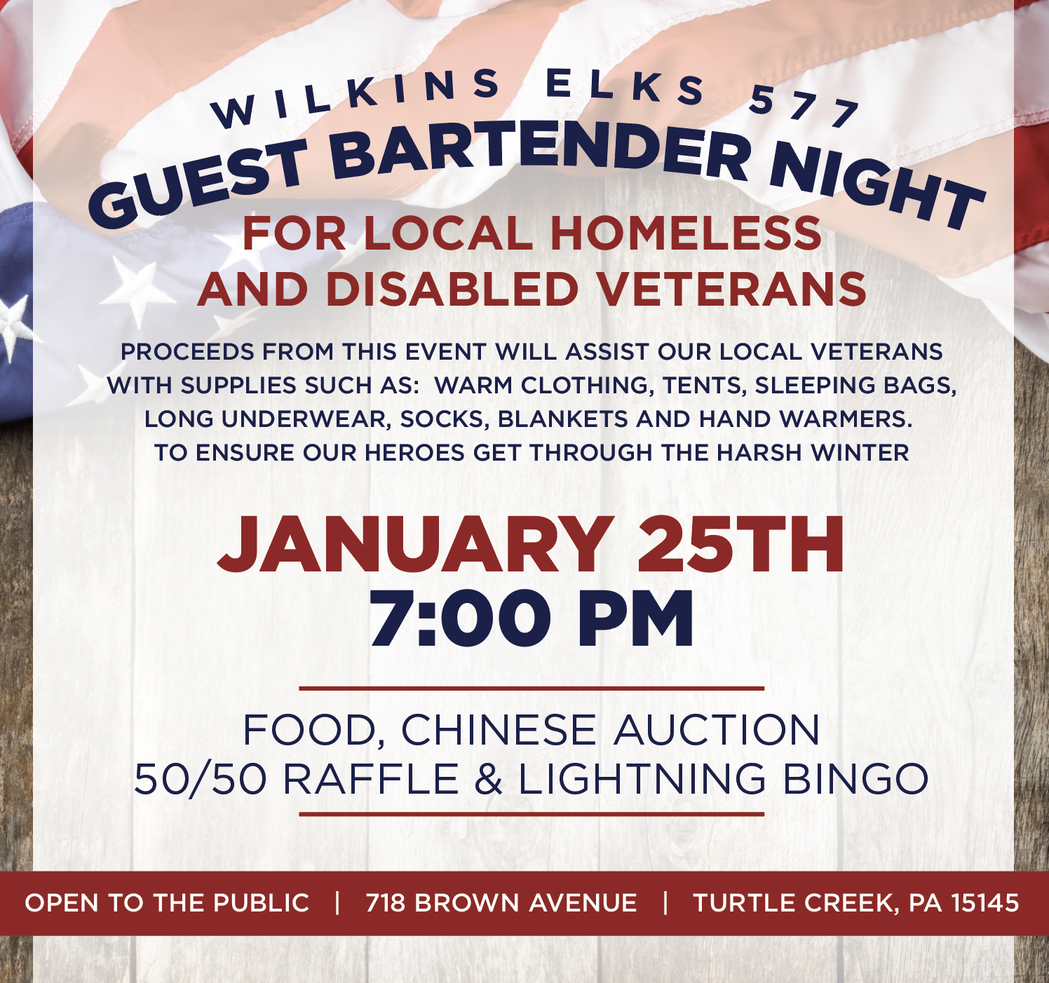 Guest Bartender Night for Local Homeless & Disabled Veterans