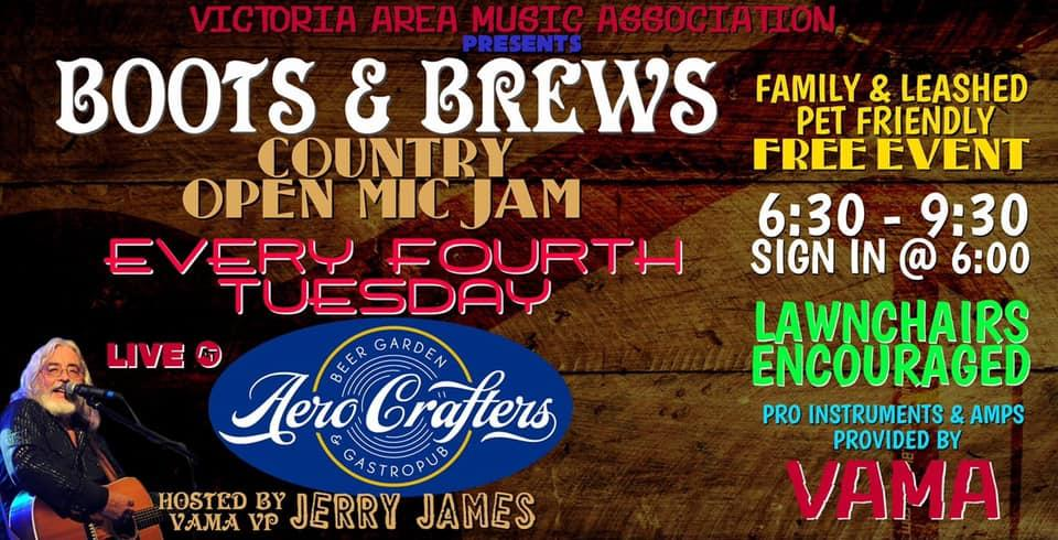 V.A.M.A. Boots & Brews Open Mic Night at Aero Crafters