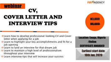 CV, COVER LETTER AND INTERVIEW TIPS. Tickets, Thu, Jan 16 ...
