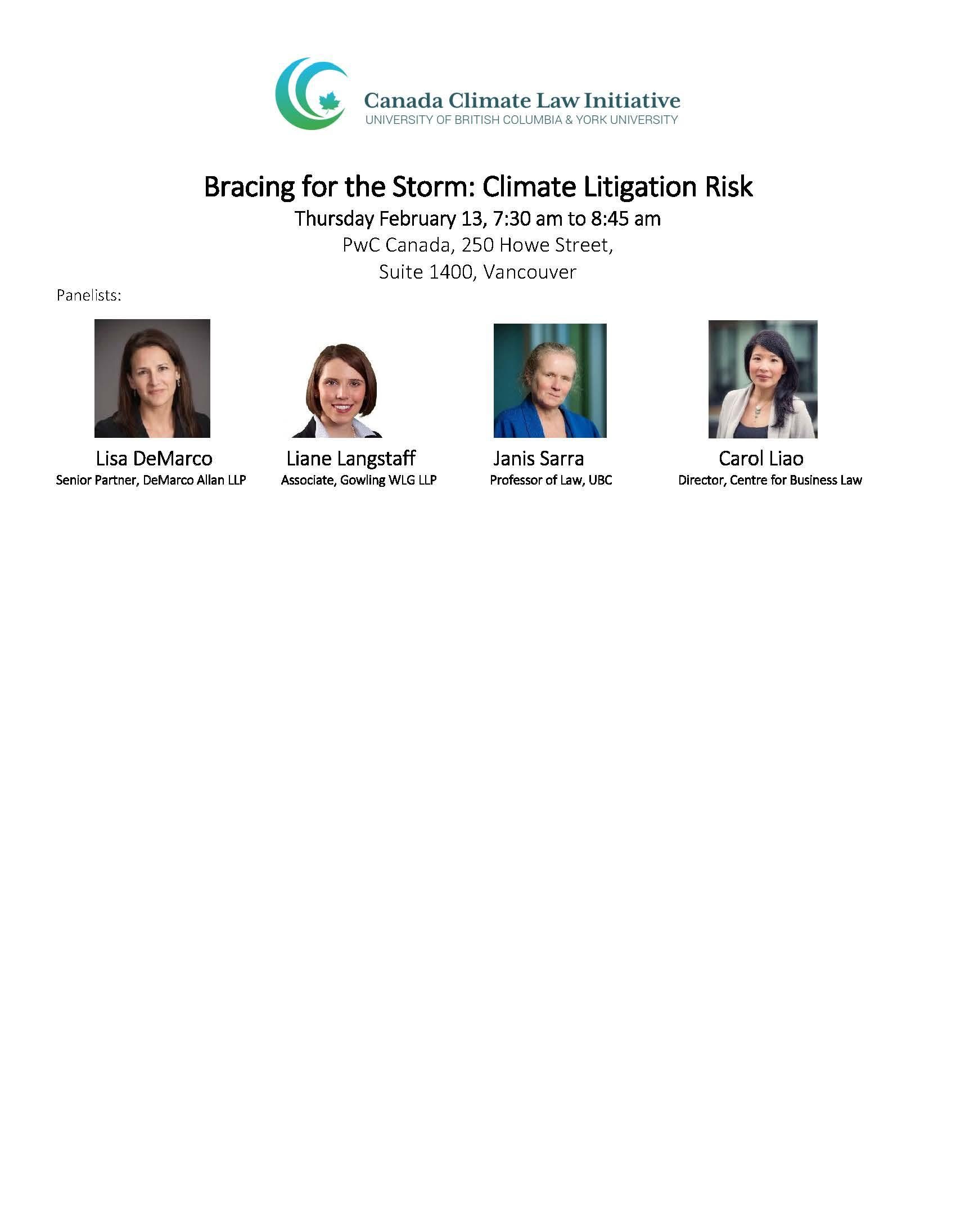 Bracing for the Storm: Climate Litigation Risk (breakfast will be provided)