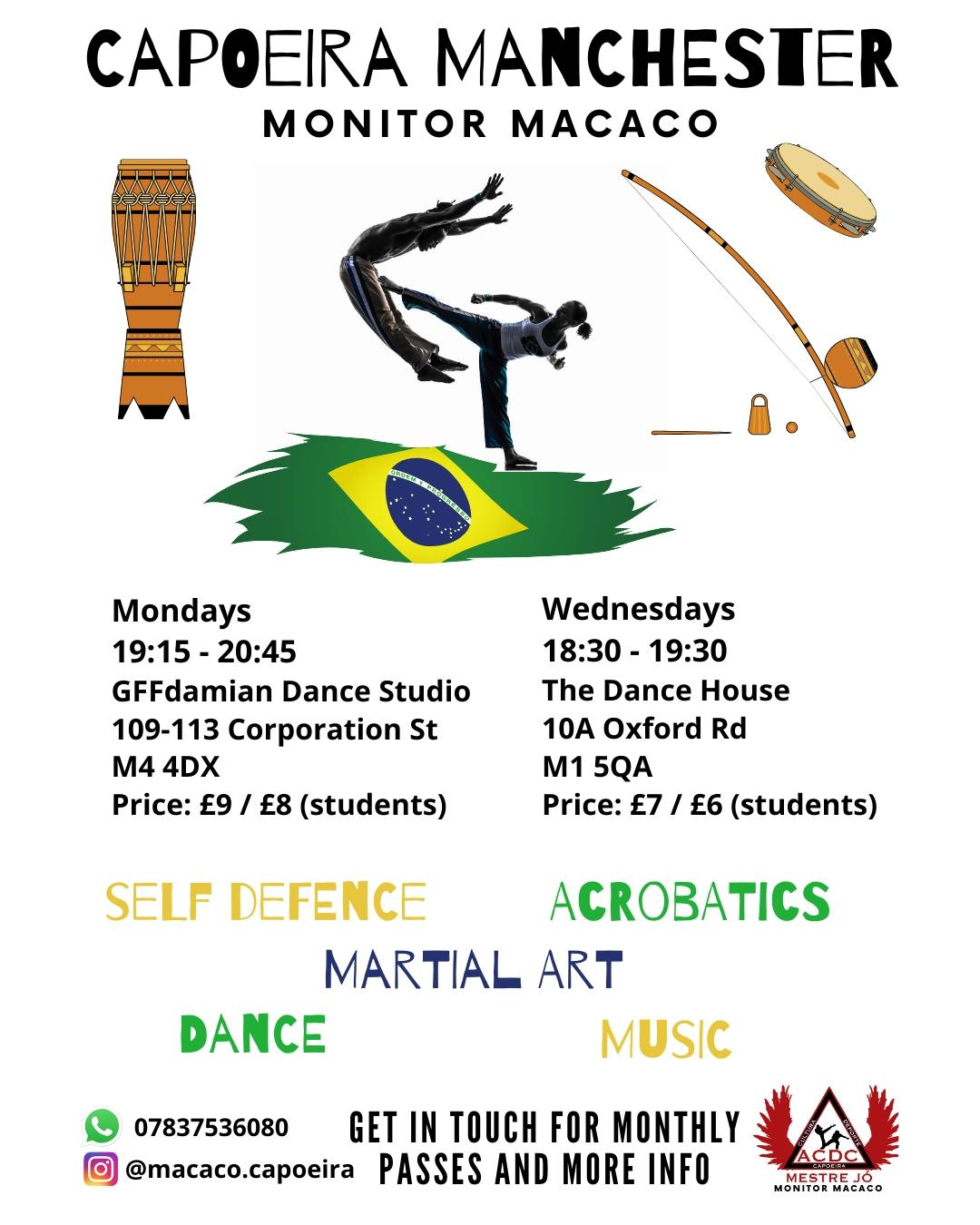 Wednesday Capoeira Class in Manchester with Monitor Macaco