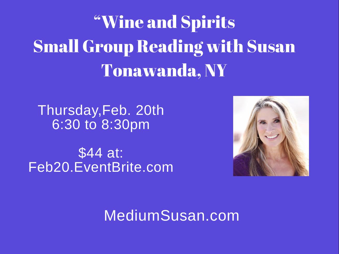 """""""Wine and Spirits"""" in Western NY: Small Group Mediumship/Psychic Readings with Susan Schueler"""