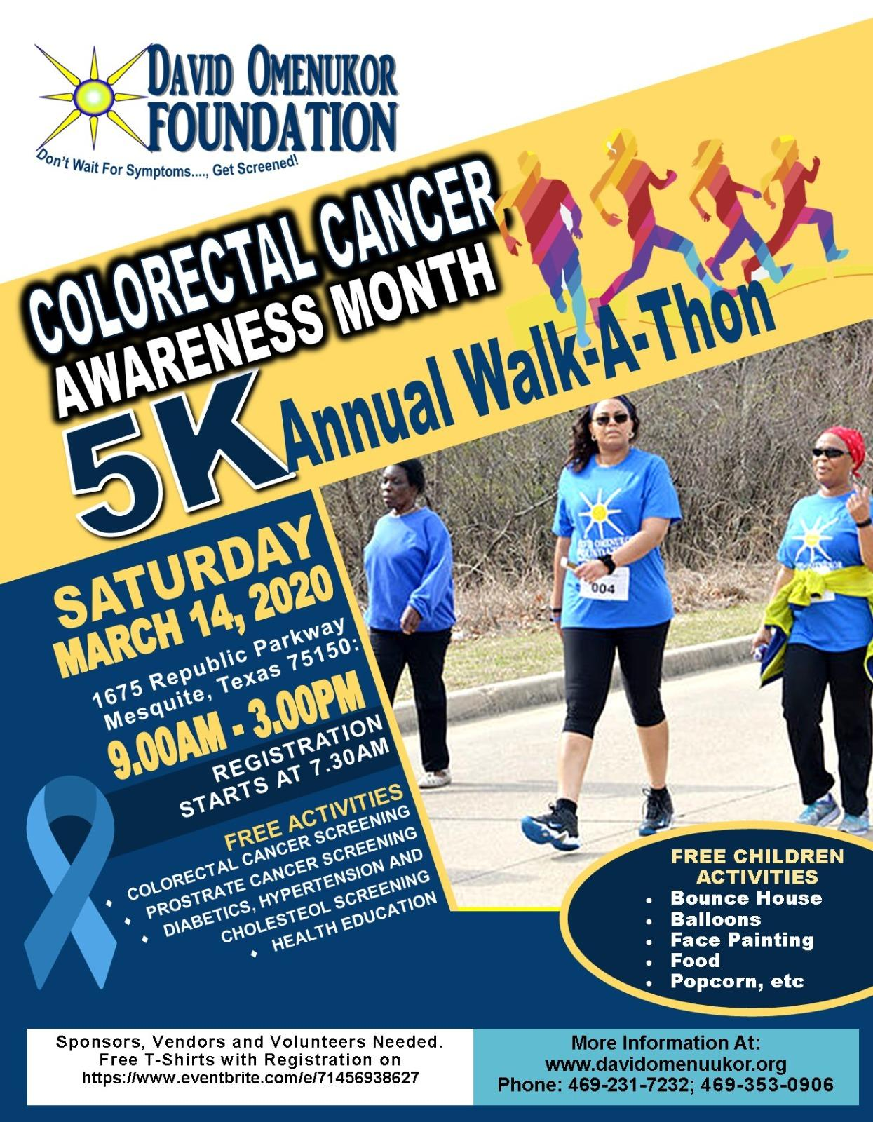 Colorectal Cancer Awareness Month 5k Walkathon 14 Mar 2020