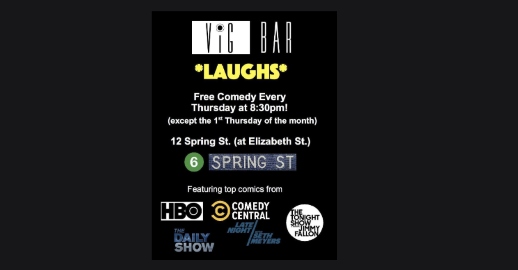 Vig Bar Laughs - A Free Weekly Comedy Show!