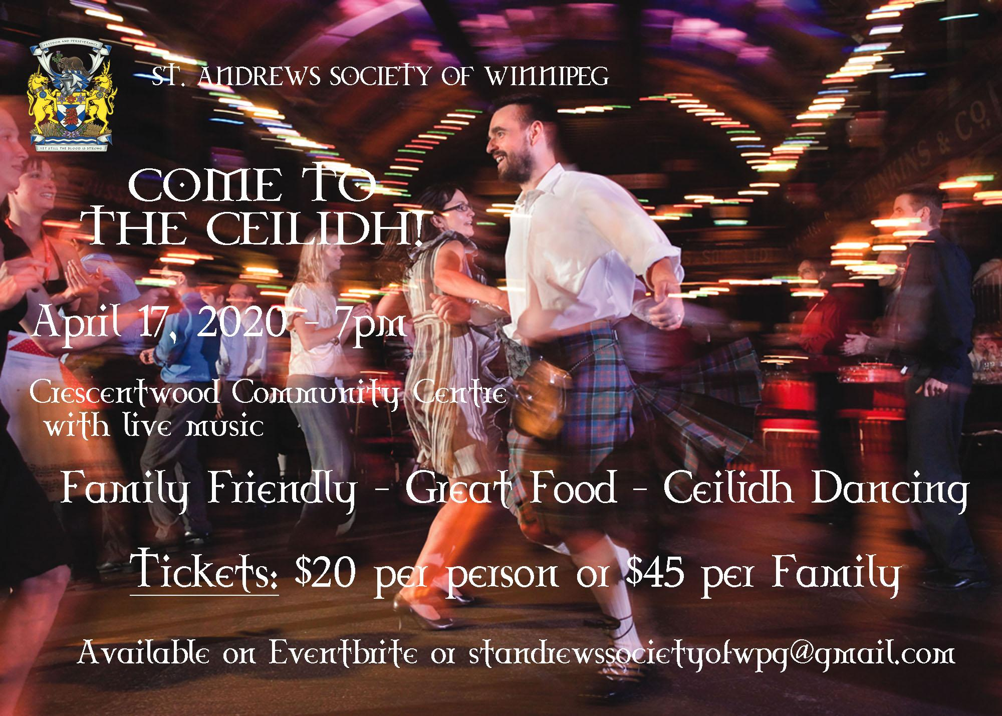 Come to the Ceilidh - Postponed to a date in September tba