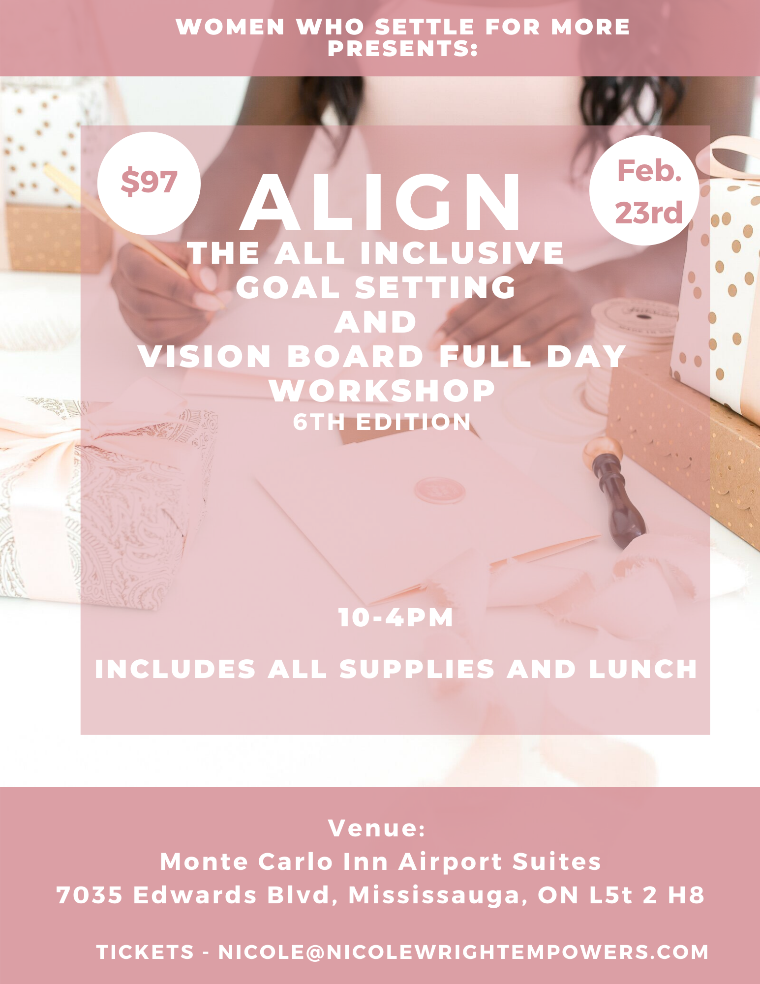 PREMIER GOAL SETTING & VISION BOARD WORKSHOP (All Supplies/lunch Included)