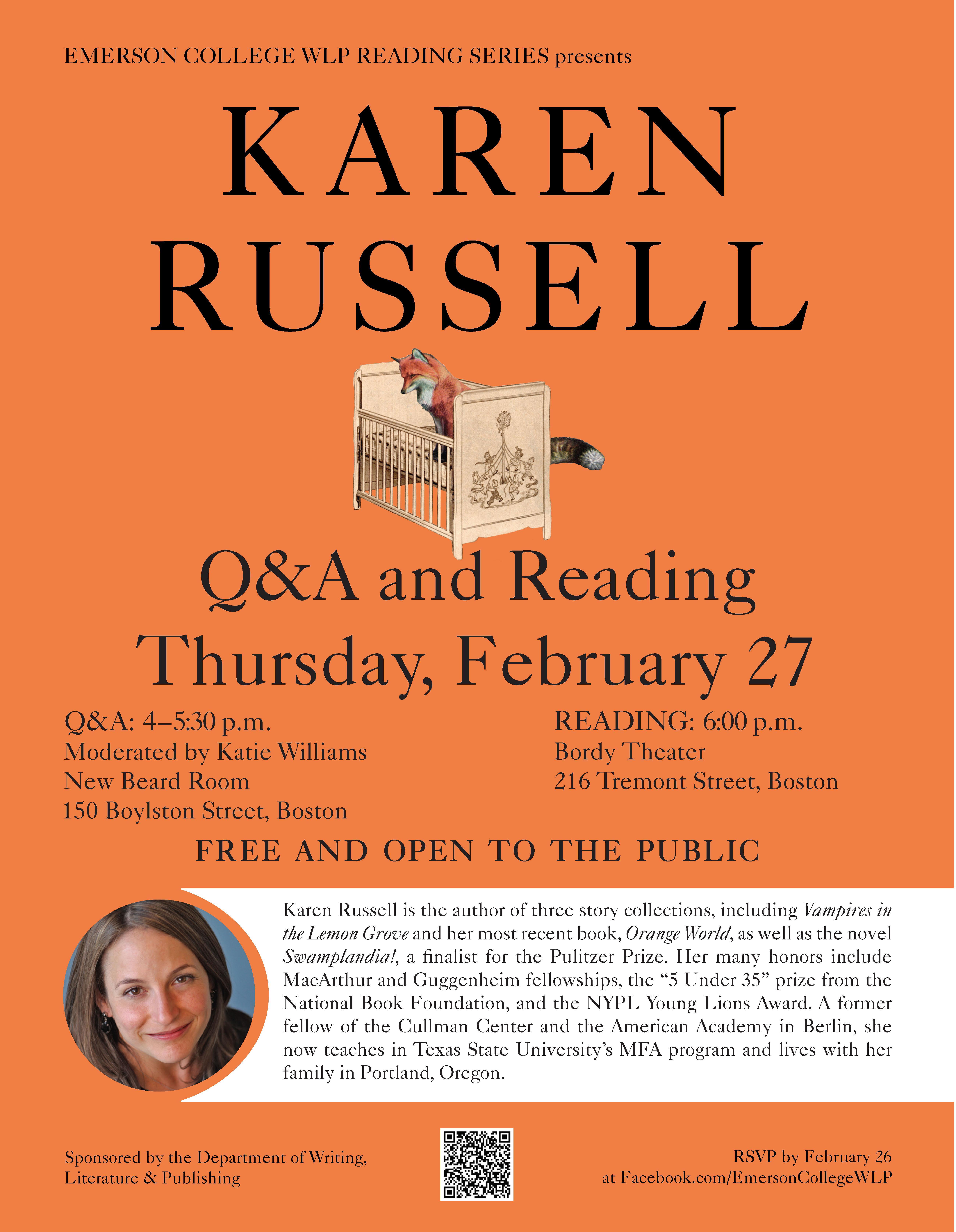WLP Reading Series Reading: Karen Russell