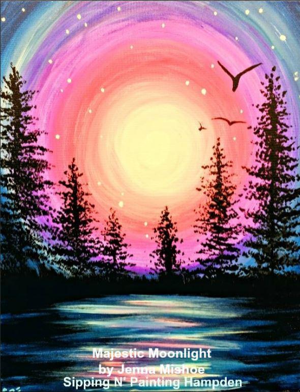 Paint Wine Denver Majestic Moonlight Thurs April 2nd 6:30pm $35