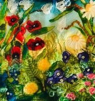 Merino Wet Felted Flower picture