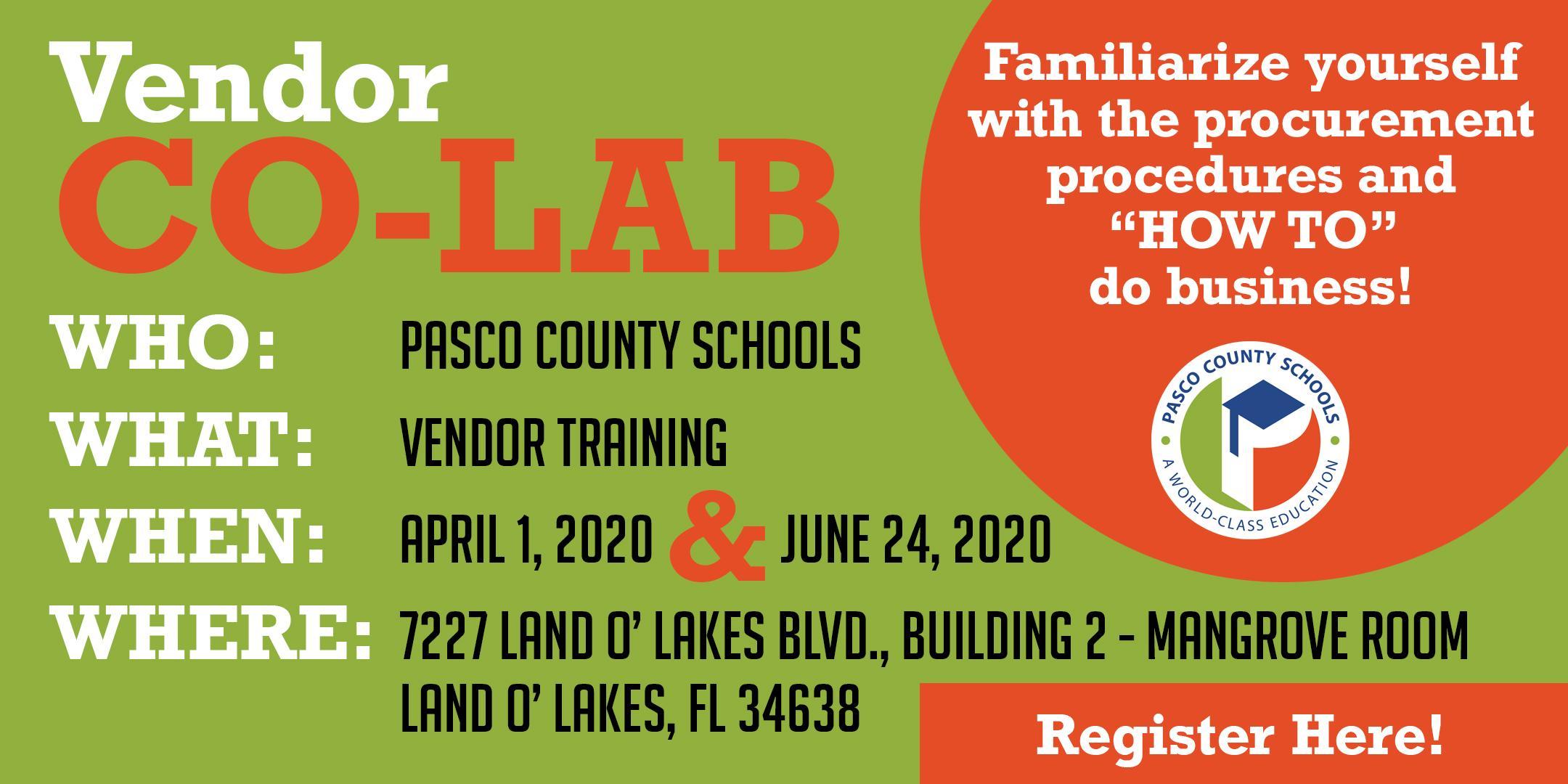 Vendor Co-LAB with Pasco County Schools