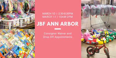 JBF Ann Arbor Consignor Drop Off Appointment and Waiver