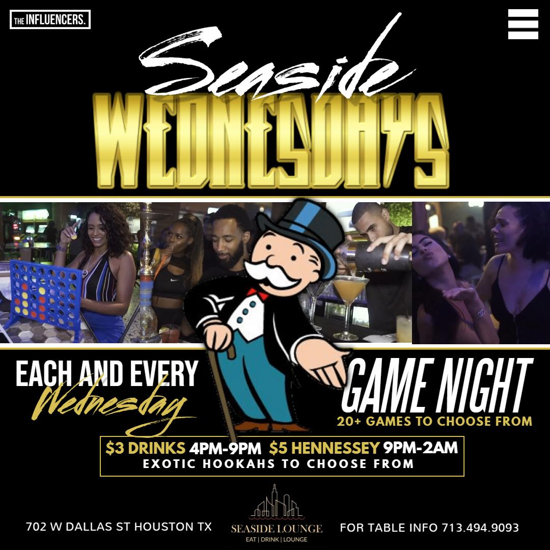#SeasideWednesdays | GAME NIGHT | FREE ENTRY | TABLE RESERVATION 7134949093