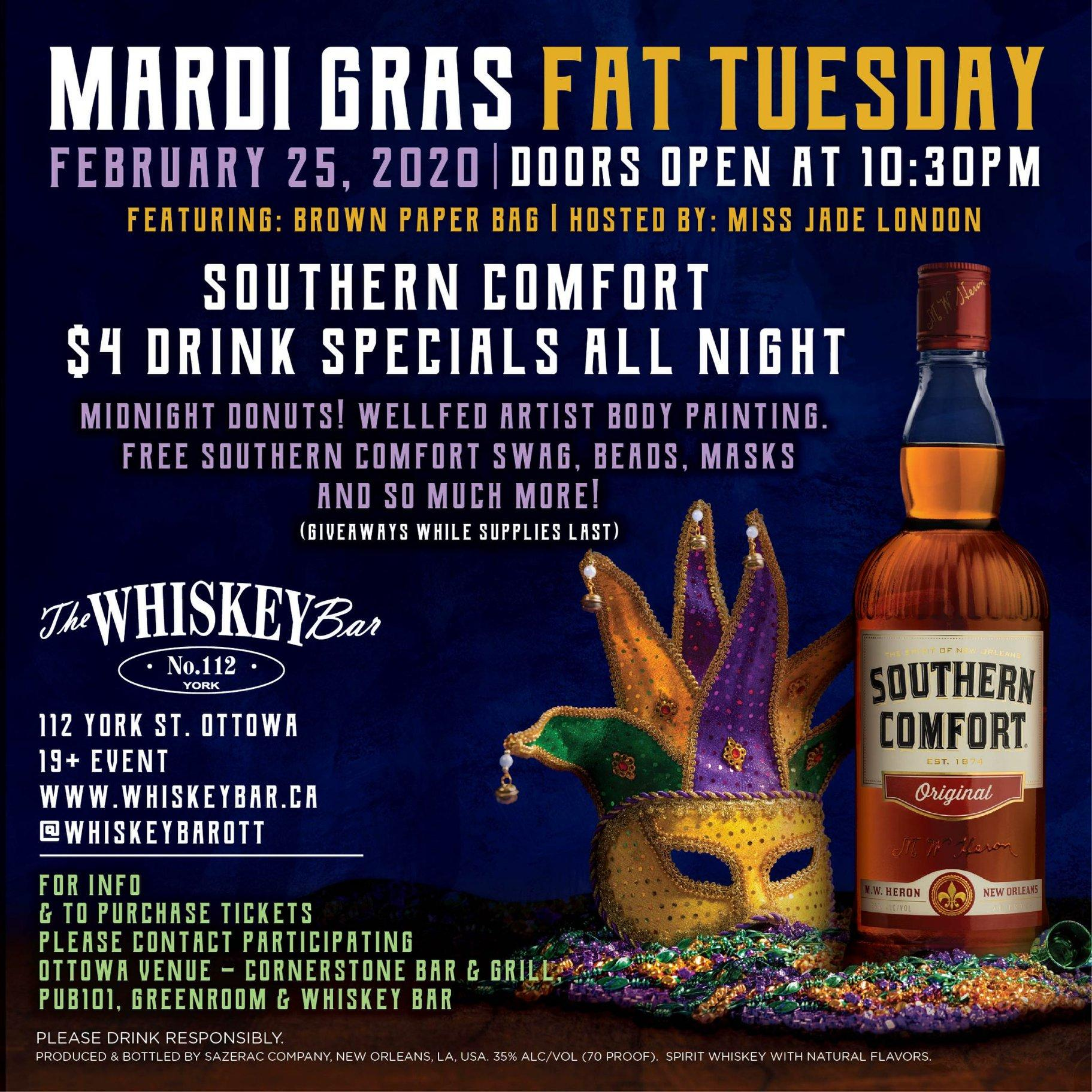Mardi Gras by The Whiskey Bar and Southern Comfort