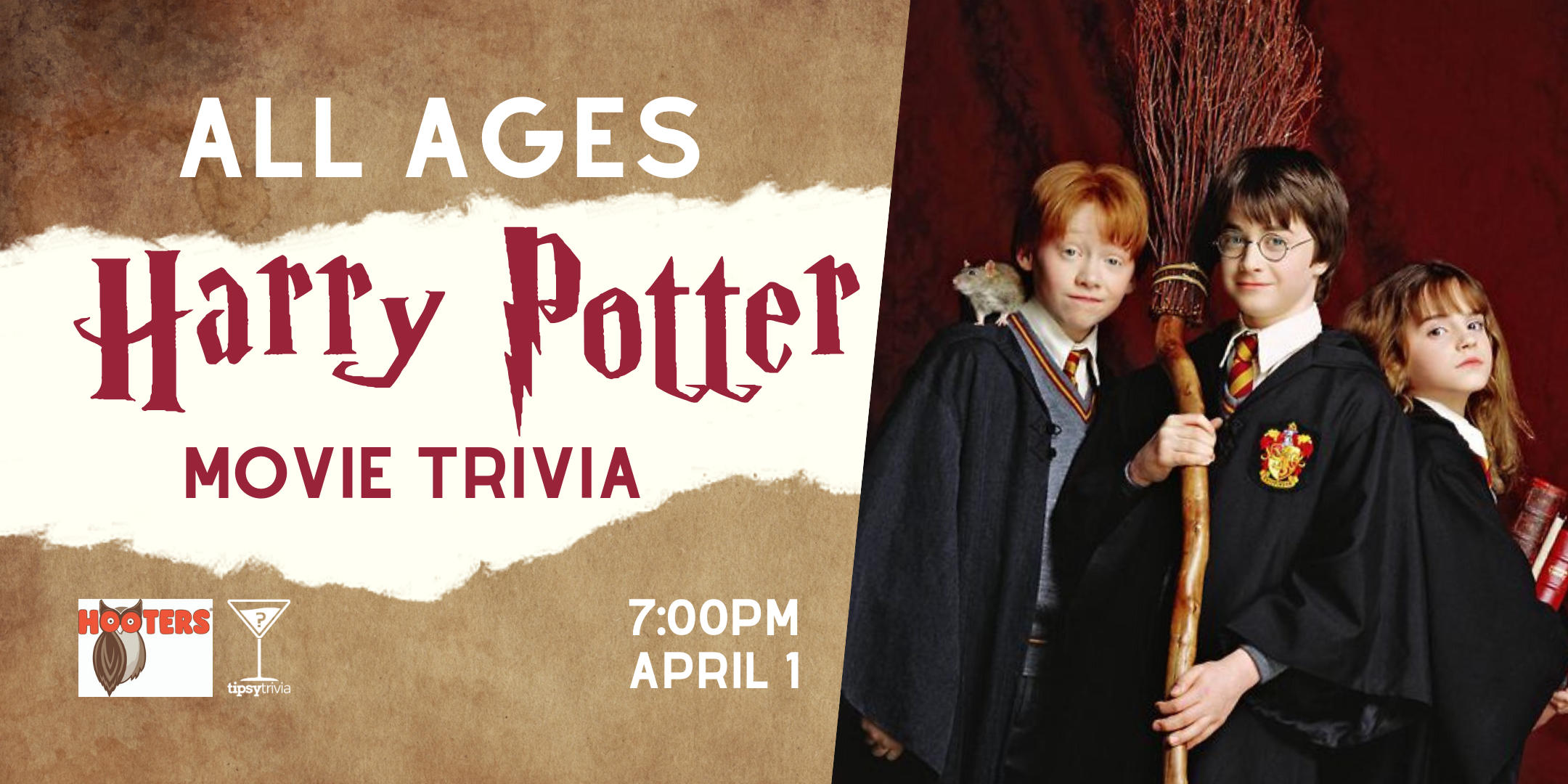 ALL AGES Harry Potter Trivia - April 1, 7:00pm - YWG Hooters