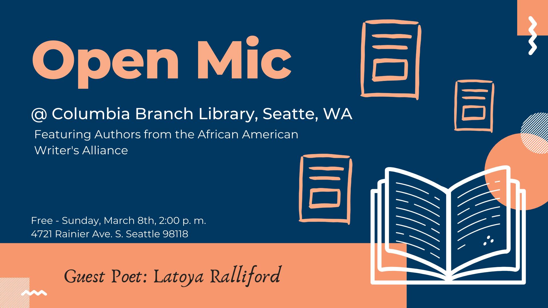 Spoken Word - Open Mic @ Columbia Branch of Seattle Public Library
