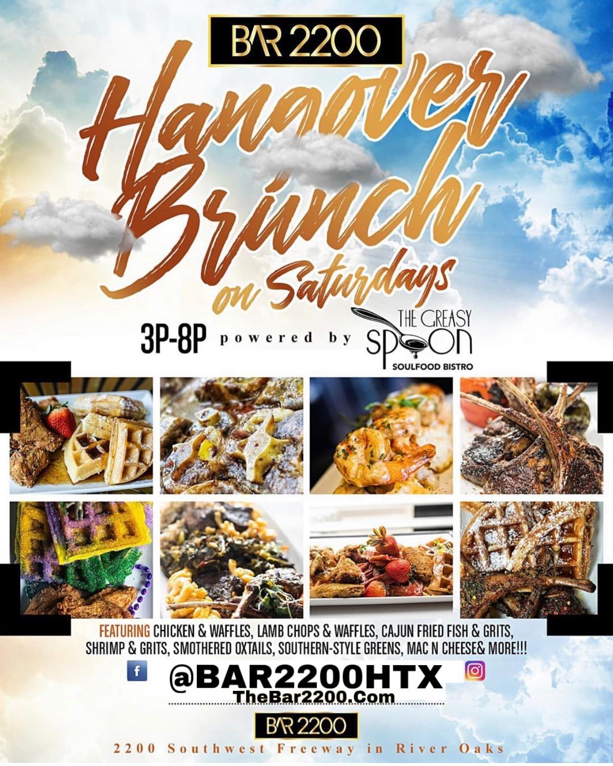 SATURDAY BRUNCH @ BAR 2200 IN RIVER OAKS | BRUNCH DAY PARTY 3p-8p | NIGHT PARTY 8pm-2am | HAPPY HOUR 5p-9p |FREE ENTRY ALL DAY | FOR BOTTLE SERVICE OR MORE INFO TEXT 832.338.3829 OR @Bar2200htx ON INSTAGRAM