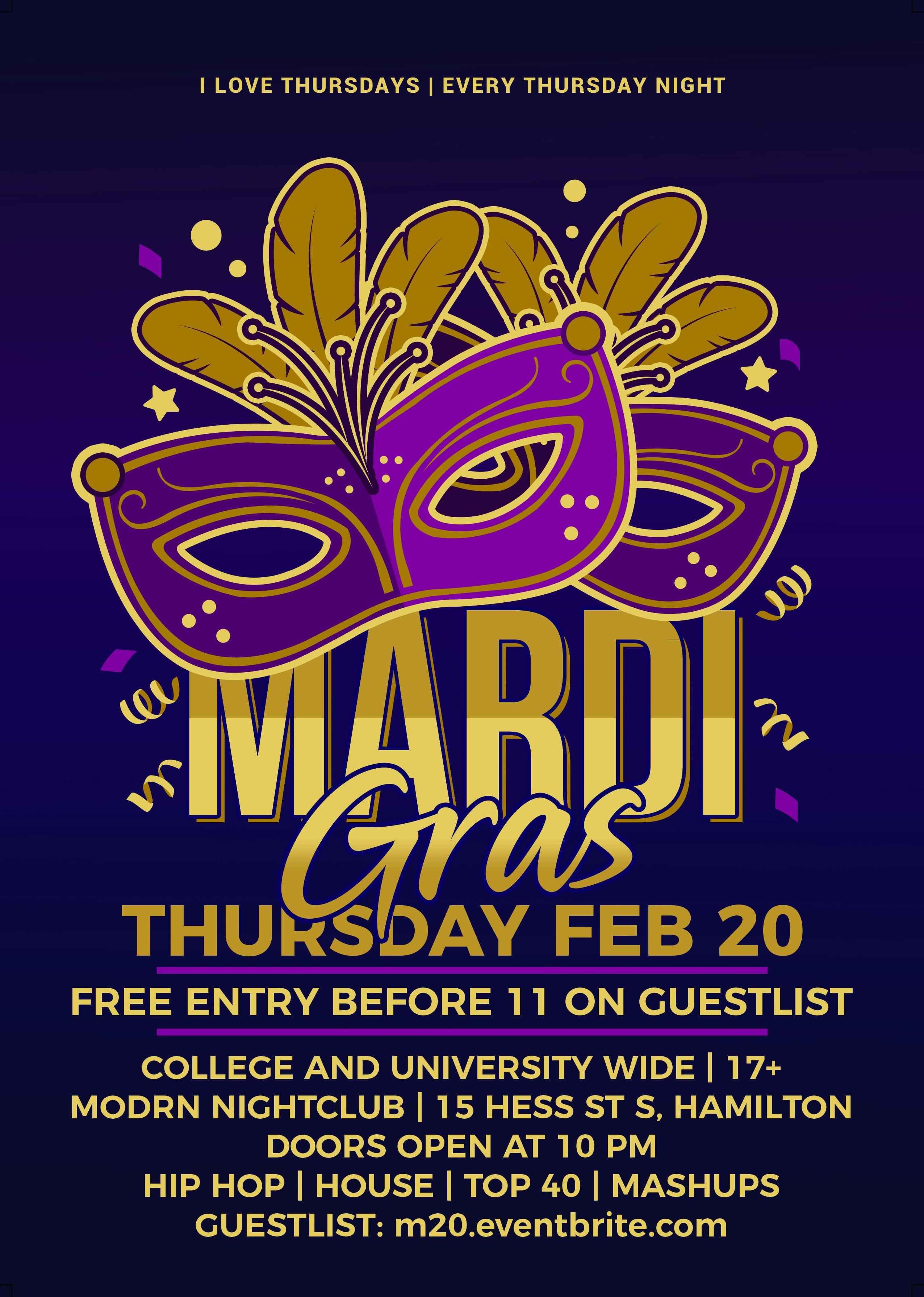 MARDI GRAS @ Modrn Nightclub - Thursday February 20
