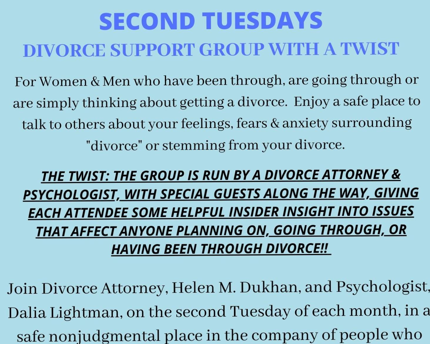 SECOND TUESDAYS DIVORCE SUPPORT GROUP