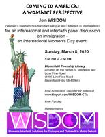 WISDOM Presents: Coming to America: A Woman's...