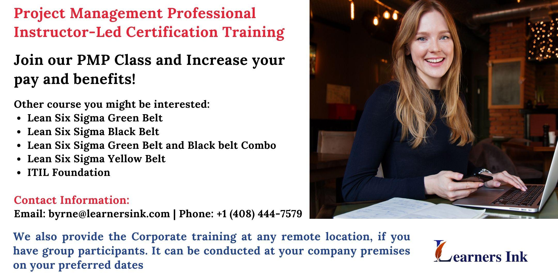 Project Management Professional Certification Training (PMP® Bootcamp)in Burbank