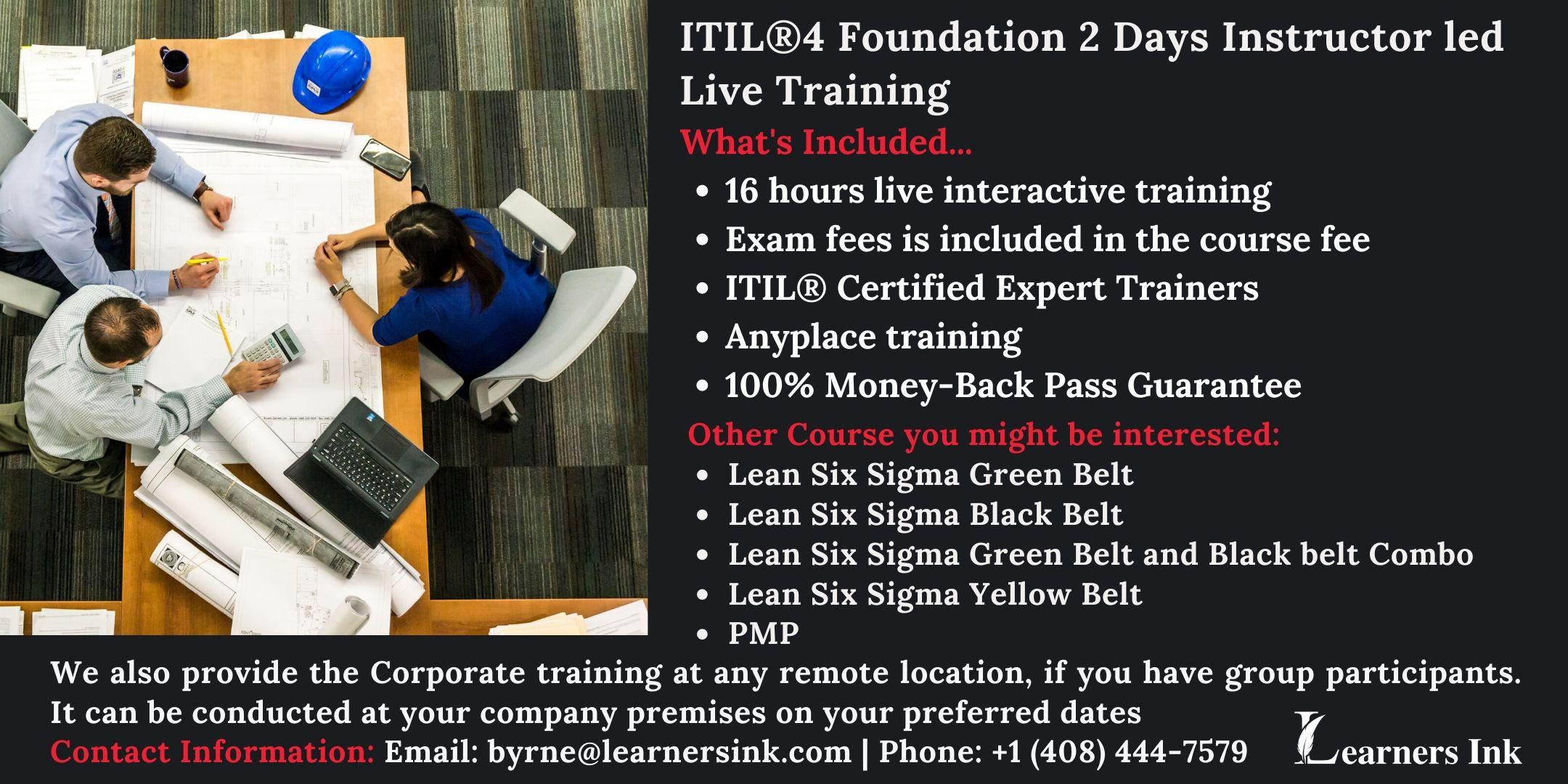 ITIL®4 Foundation 2 Days Certification Training in Colorado Springs