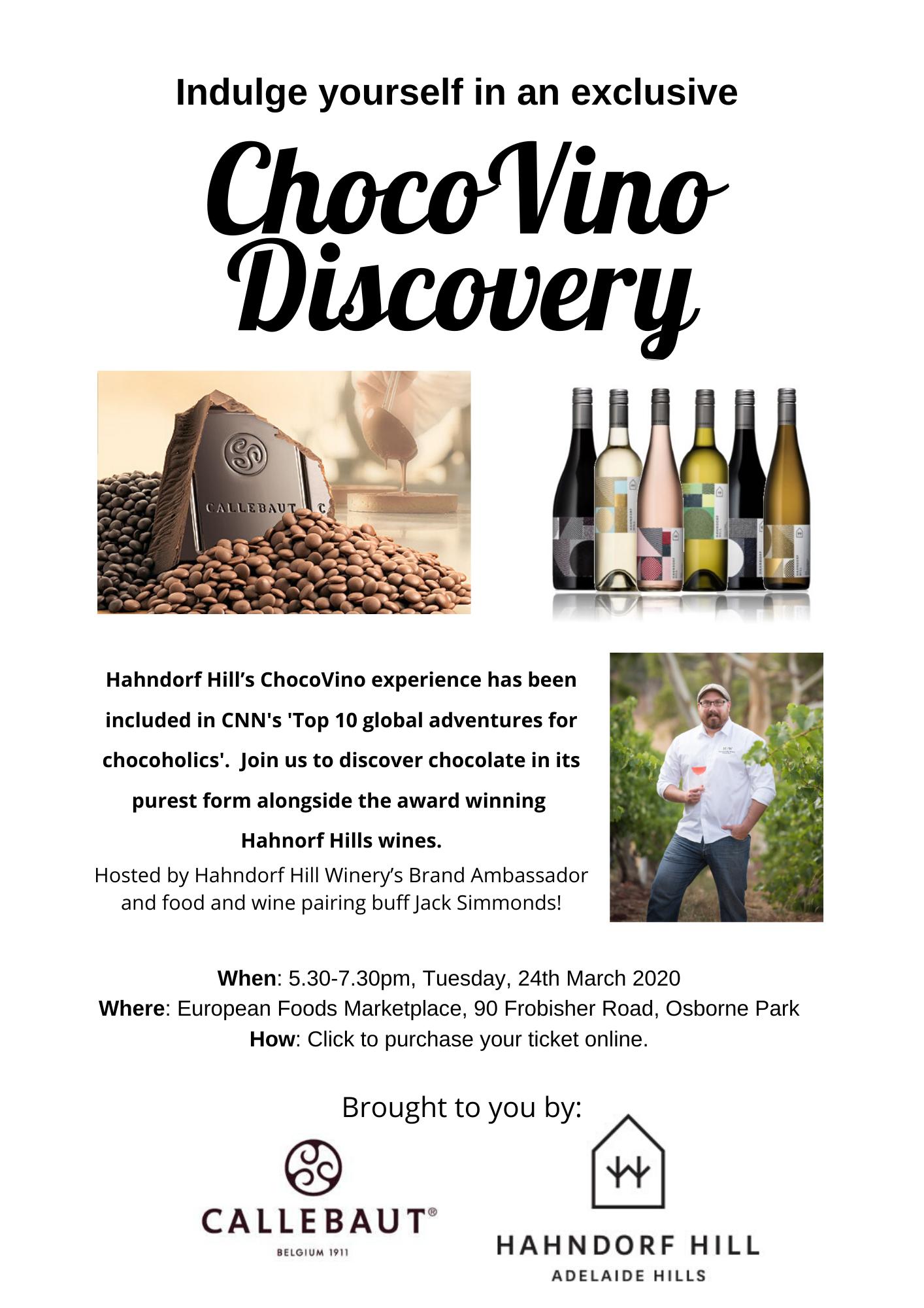 ChocoVino with Hahndorf Hills Estate & Callebaut Chocolate
