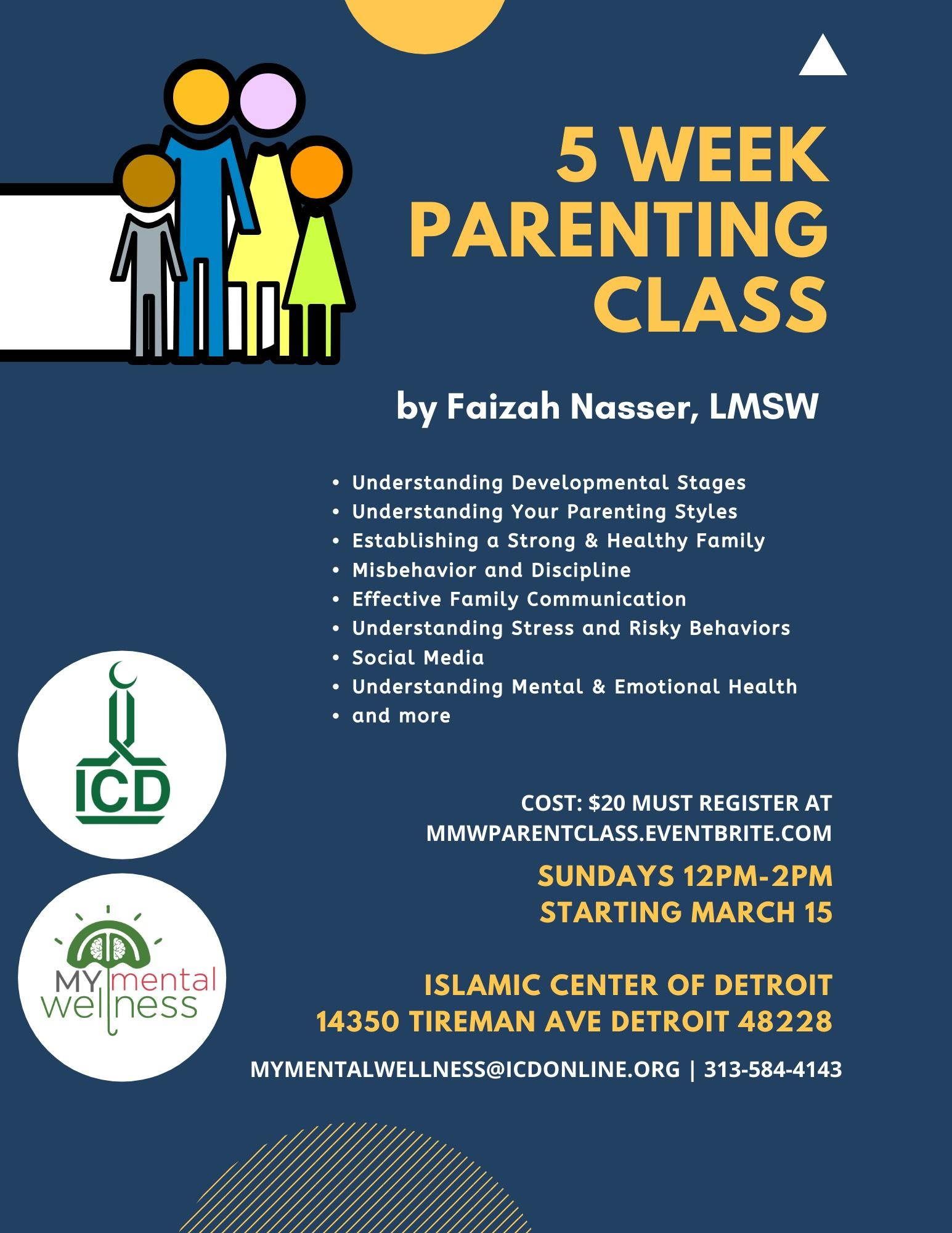 MY-Mental Wellness and ICD Present: 5 Week Parenting Class