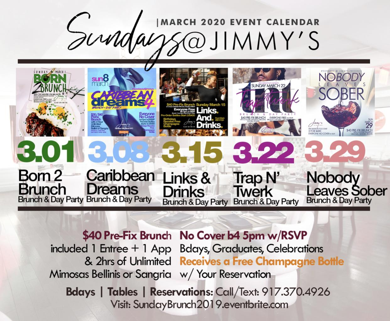Sunday 2hr Open Bar Brunch & Day Party, Bdays Free, Live Music