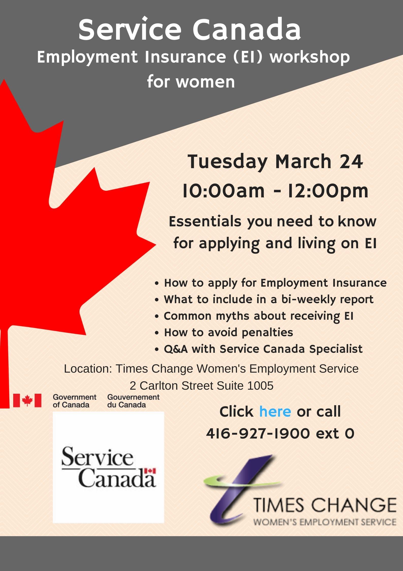 Service Canada Employment Insurance Ei Workshop 24 Mar 2020