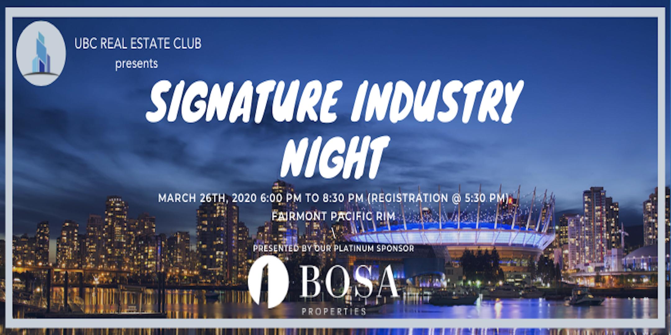 UBC Real Estate Club: Signature Industry Night 2020